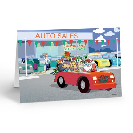 Stonehouse Collection Santa Gets a New Car Holiday Card -