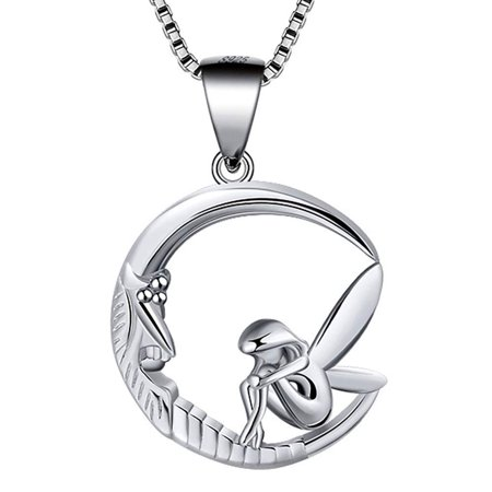 Fairy Moon Sterling Silver Pendant Chain Necklace Ginger Lyne (Artist Fairy Necklace)