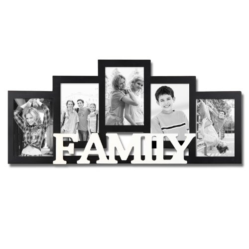 Adeco Decorative Black and White Wood Family Wall Hanging Picture Photo Frame 5 Openings 4x6