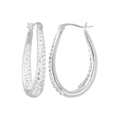 Clear Crystal Silver-Tone Hoop Earrings