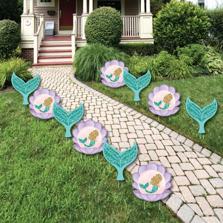 Let's Be Mermaids - Mermaid & Seashell Lawn Decorations - Outdoor Baby Shower or Birthday Party Yard Decorations - 10 Ct - Mermaid Decorations
