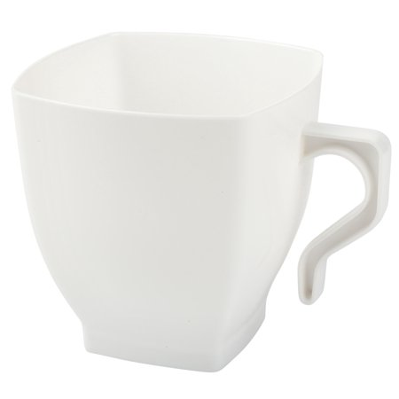 Kaya Collection - White Plastic Coffee Cups - 8oz Square Mugs with Handle - Disposable or Reusable (16 Cups) (Plastic Coffee Cups)