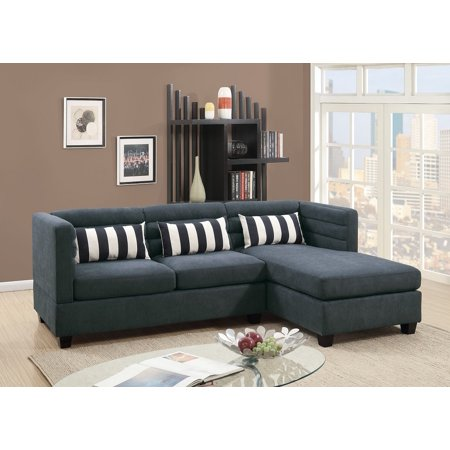 2pcs Sectional Sofa Reversible Chaise Living Room Velveteen Fabric Modern  Slate Color Comfort Couch w Pillows