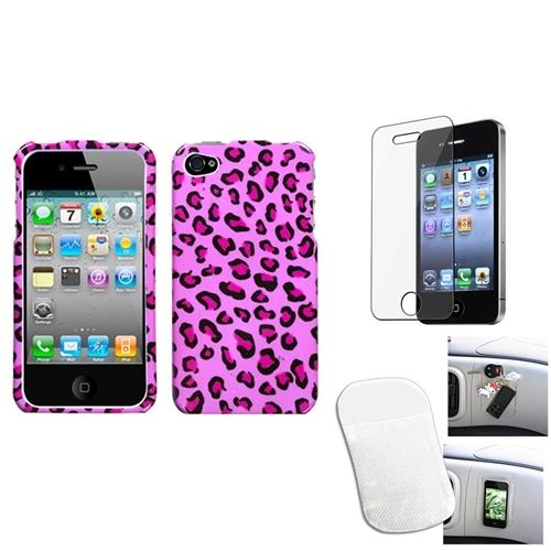 Insten Film Mat Pink Leopard Skin Phone Case Cover For APPLE iPhone 4S/4