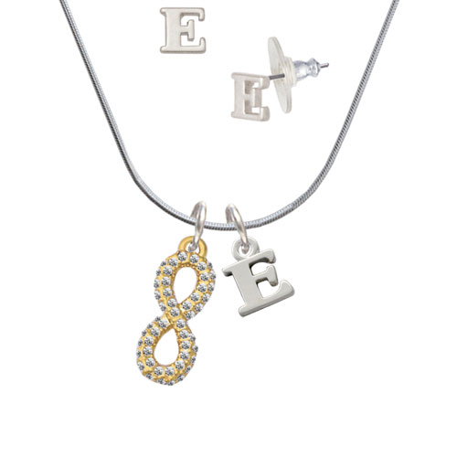 Crystal Gold Tone Infinity Sign E Initial Charm Necklace and Stud Earrings Jewelry Set by Delight and Co.