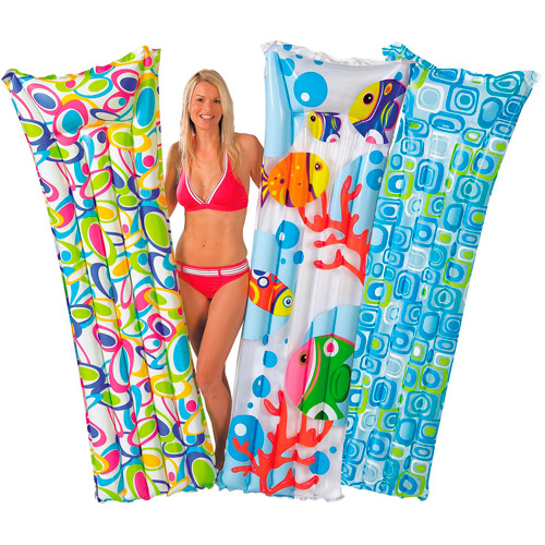 Intex Inflatable Printed Fashion Mats with Built-In Pillow