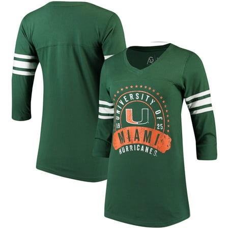 Miami Hurricanes Alta Gracia (Fair Trade) Women's Lulu Striped Football 3/4-Sleeve T-Shirt - Green