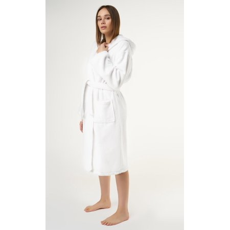 "Womens White Hooded Terry Spa Bathrobe - 50"" Length 100% Cotton"