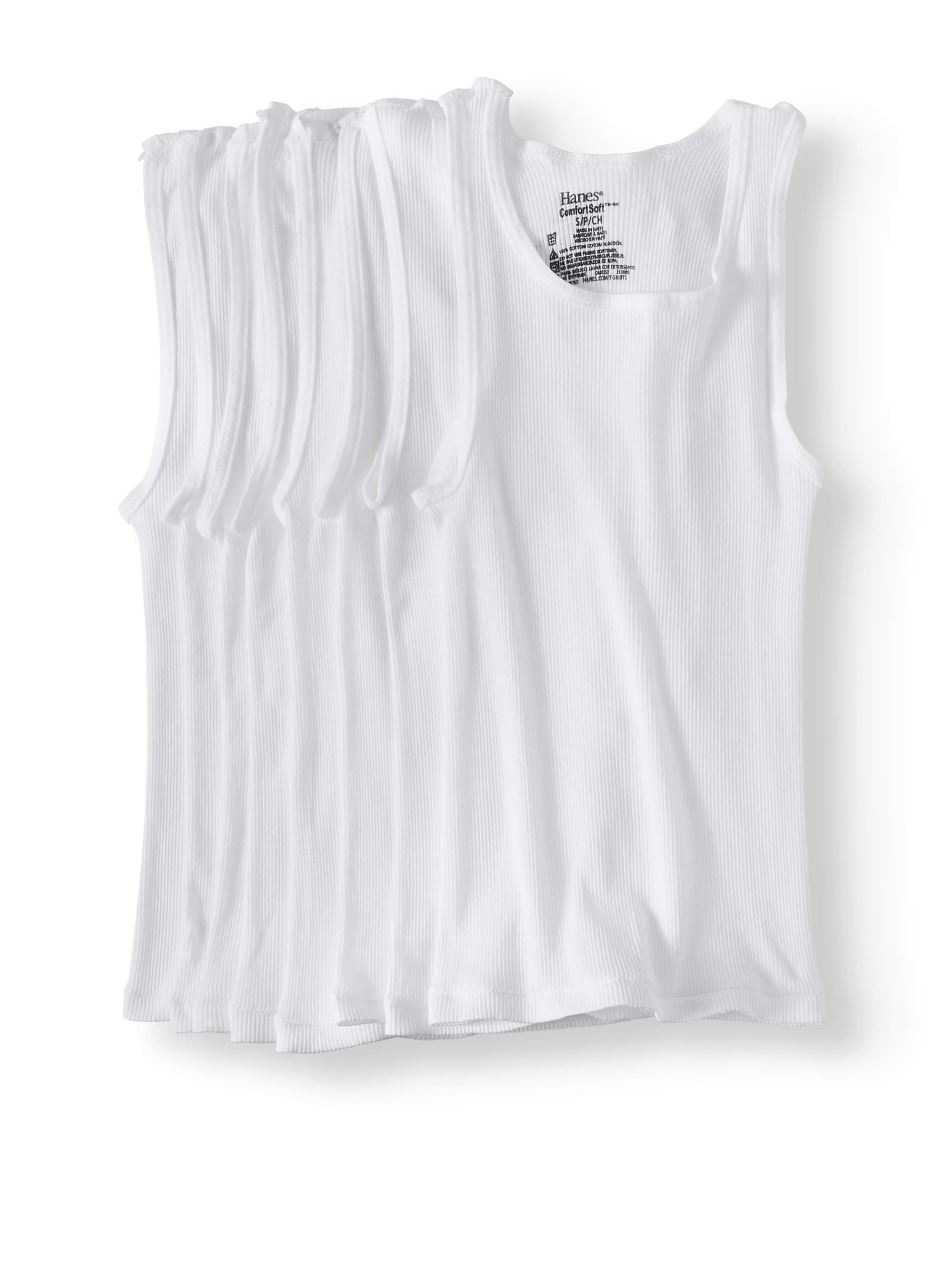 Boys' White Tagless Tank Shirt, 5 + 3 Pack
