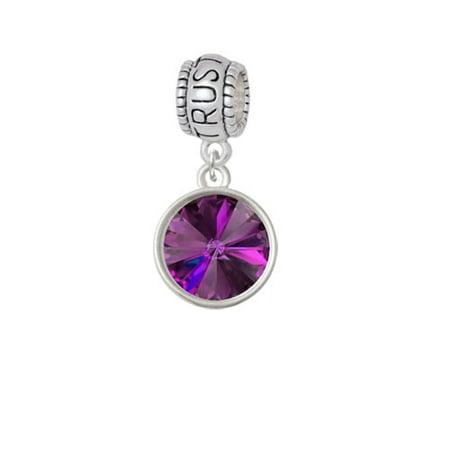 Rivoli Charms (12mm Crystal Rivoli - Purple - Trust In God Charm Bead )