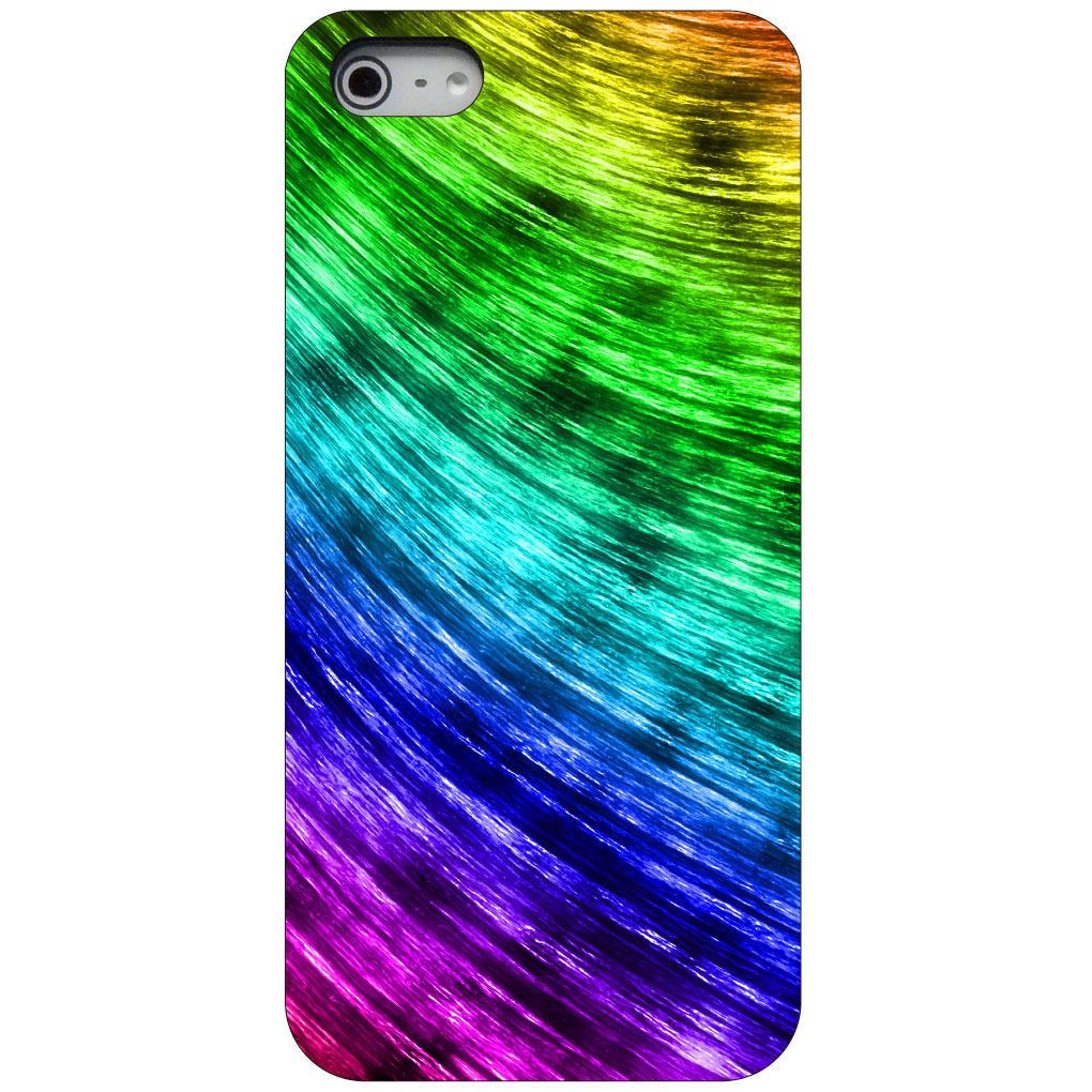 CUSTOM Black Hard Plastic Snap-On Case for Apple iPhone 5 / 5S / SE - Rainbow Shimmering Curve