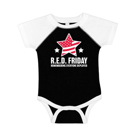 Red Friday Remembering Everyone Deployed with Red American Flag Infant Creeper