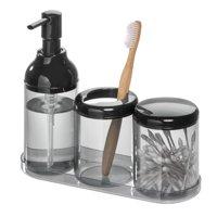 iDesign Finn 4-Piece Bathroom Accessory Set, Black and Smoke