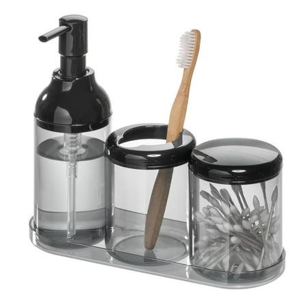 iDesign Finn 4-Piece Bathroom Accessory Set, Black and Smoke ()