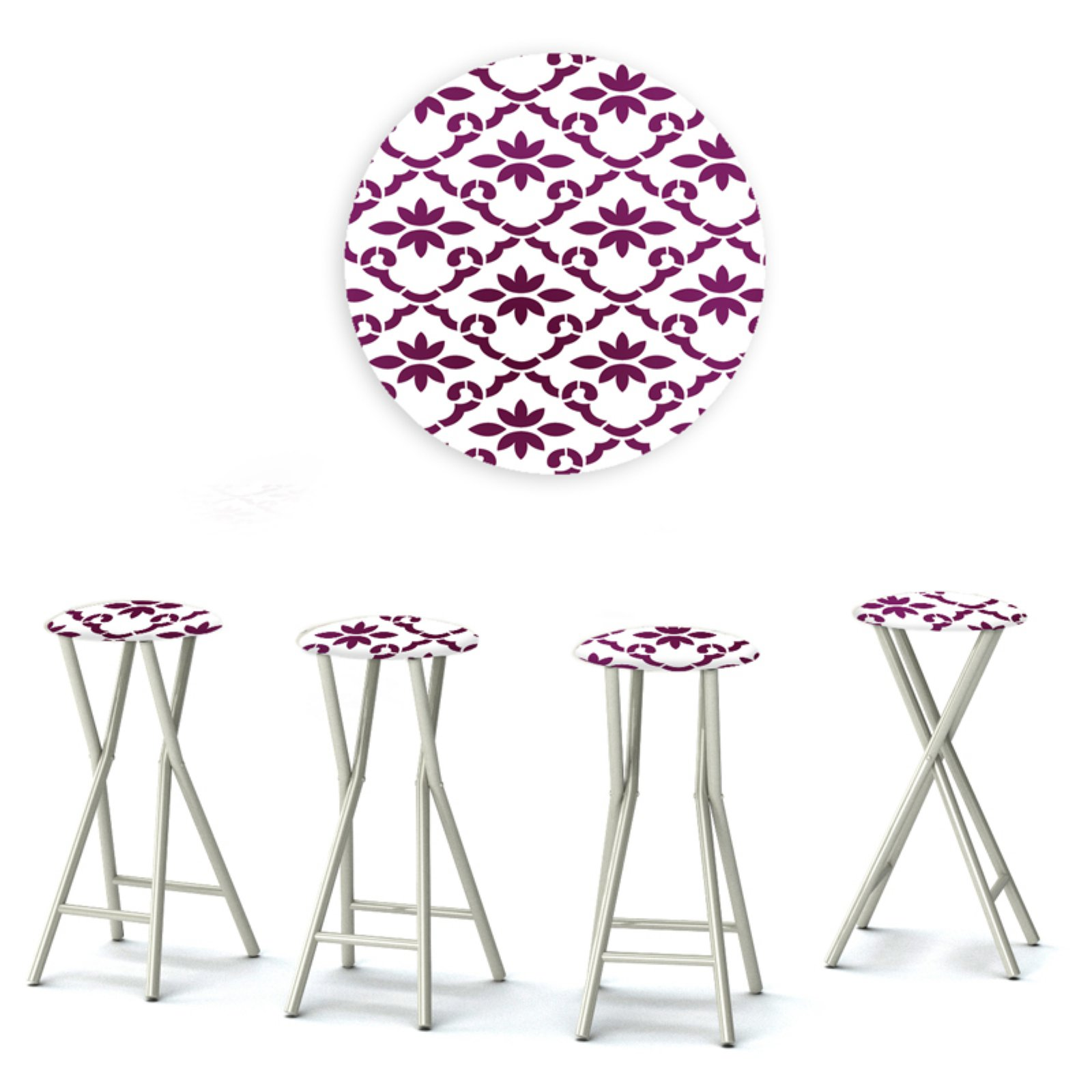 Best of Times Padded Pattern Outdoor Backless Bar Stools - Set of 4