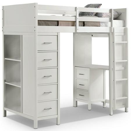 Furniture of America Alora Transitional Multi-Storage Loft Bed, Twin, White