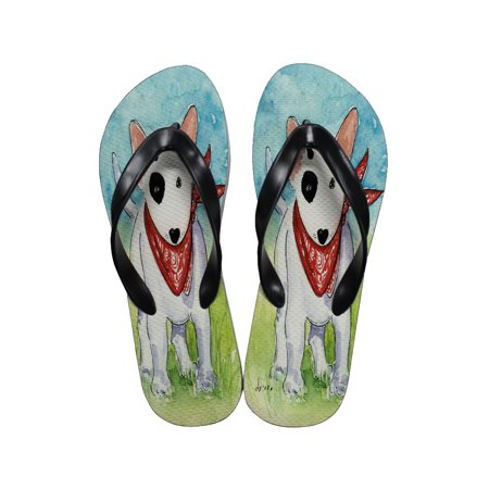 KuzmarK Flip Flop Thong Sandals Unisex - White Bull Terrier Puppy with Red Bandana Dog Art by Denise Every