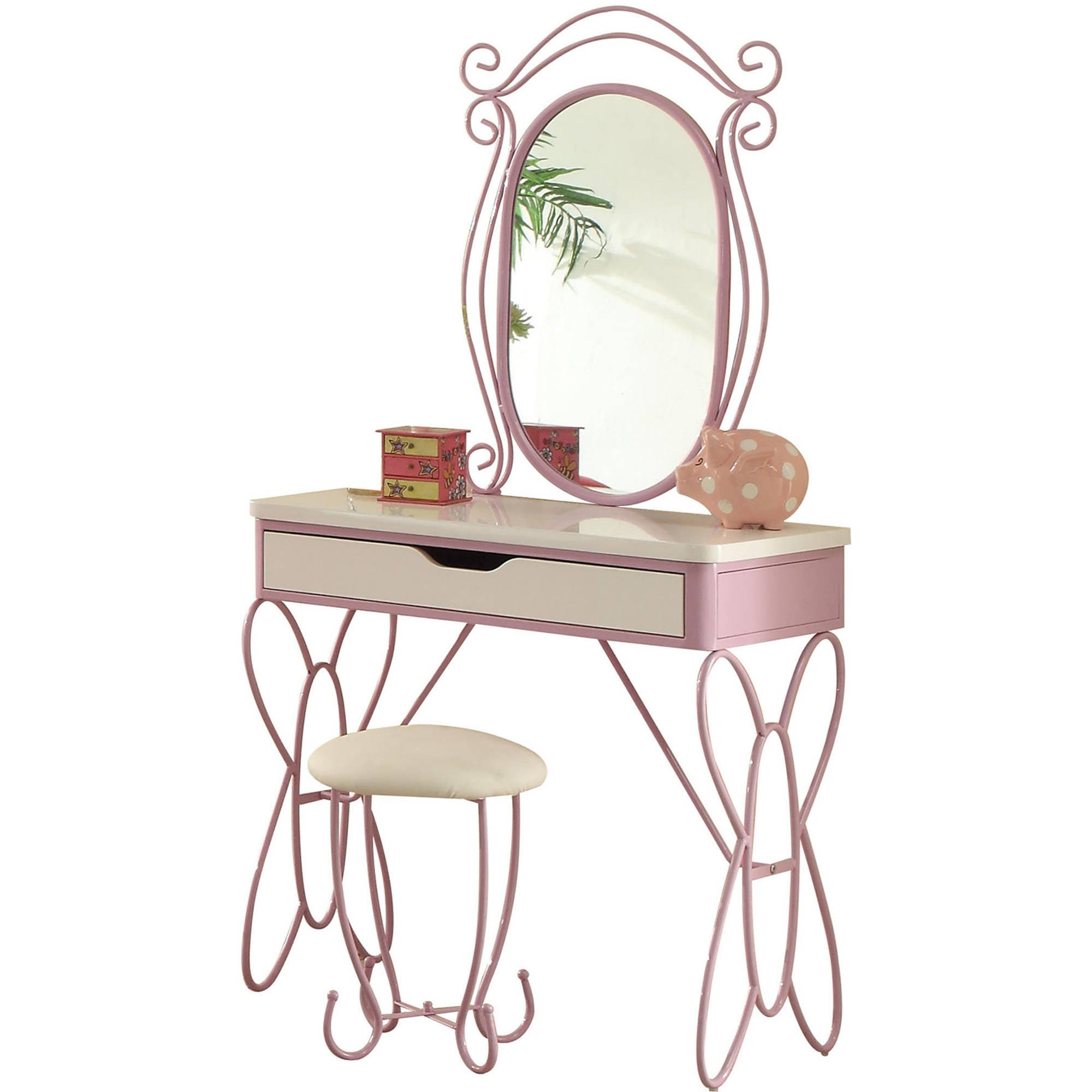 Acme Priya II Vanity Desk and Mirror, White and Light Purple by Acme Furniture