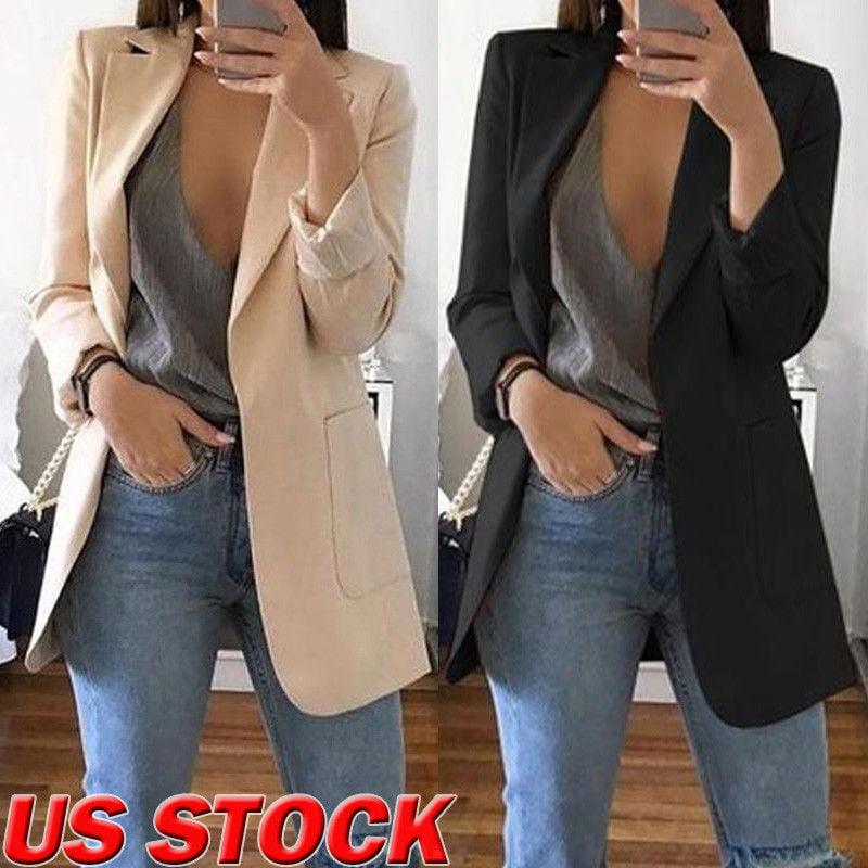 Women Slim Casual Blazer Jacket Top Outwear Long Sleeve Career Formal Long Coat