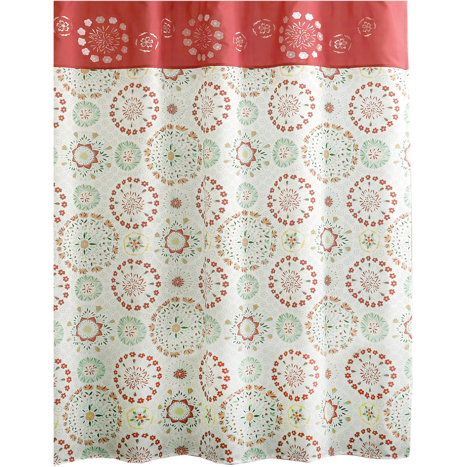 "Excell Flower Bomb 70"" x 72"" Fabric Shower Curtain, Multi-Colored"