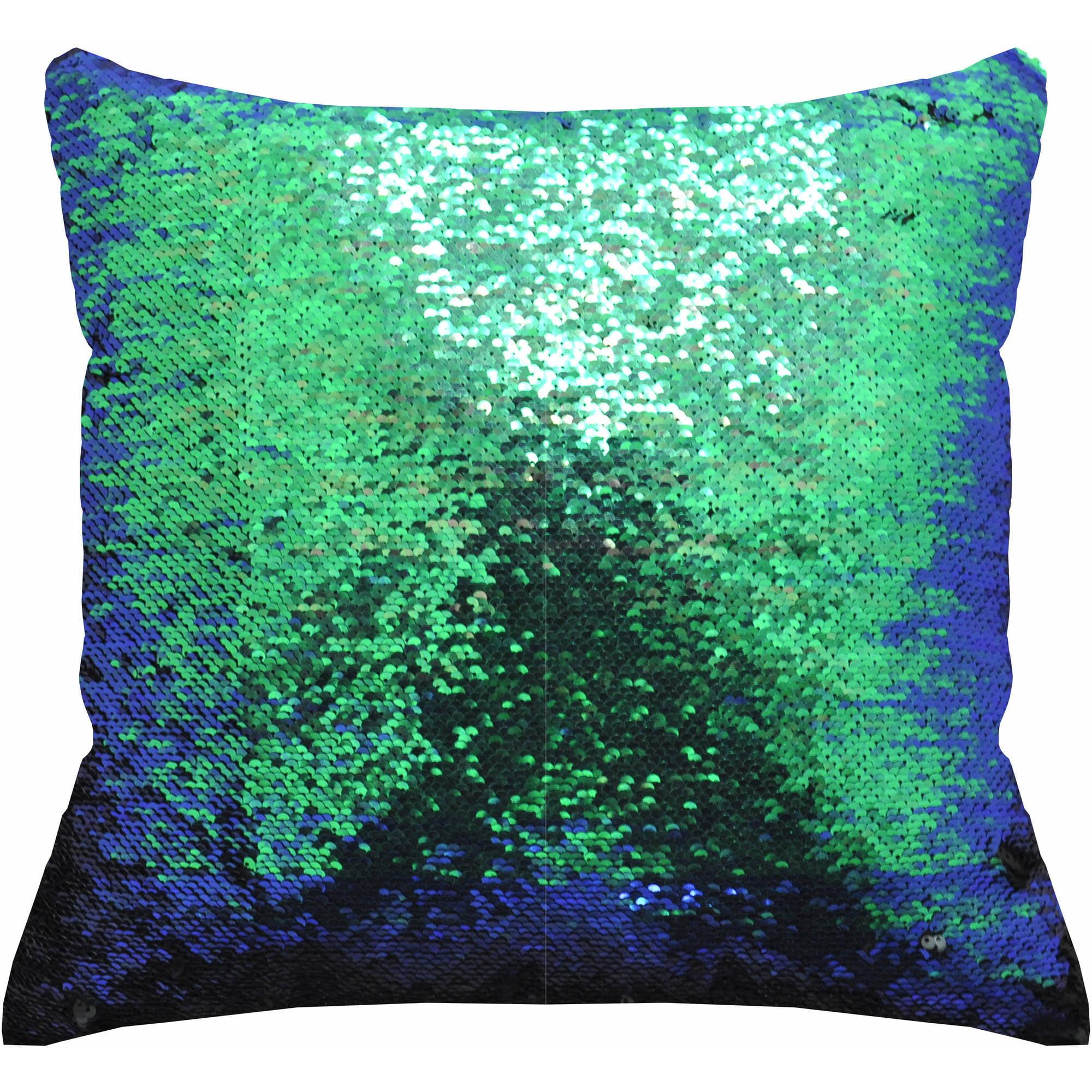Mainstays Reversible Sequin Decorative Throw Pillow 17x17 Teal