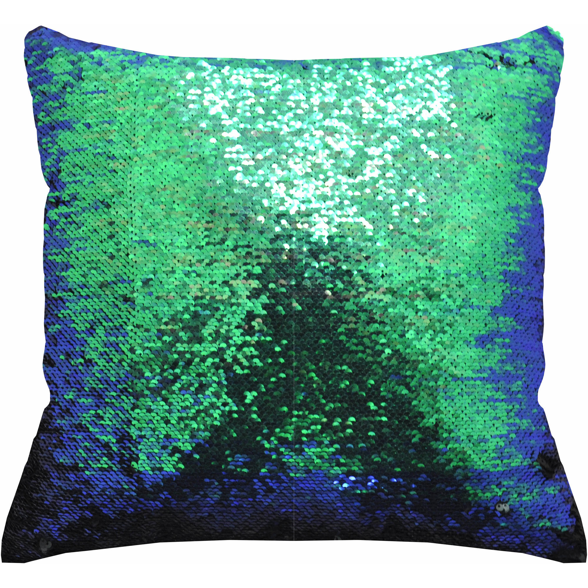 "Mainstays Reversible Sequin Decorative Throw Pillow 17""x17"", Teal"
