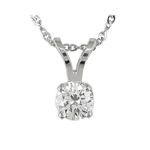Amour Singapore Chain and Round Cut Quarter Carat of Diamond Pendant