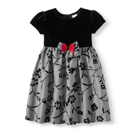 Holiday Short Sleeve Stretch Velvet Flocked Floral Special Occasion Dress (Toddler - Occasion Dresses For Girls