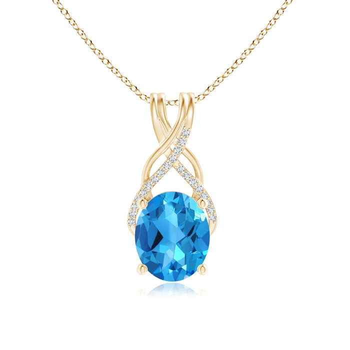Angara Oval Swiss Blue Topaz Criss Cross Pendant with Diamonds 9hmCXGd