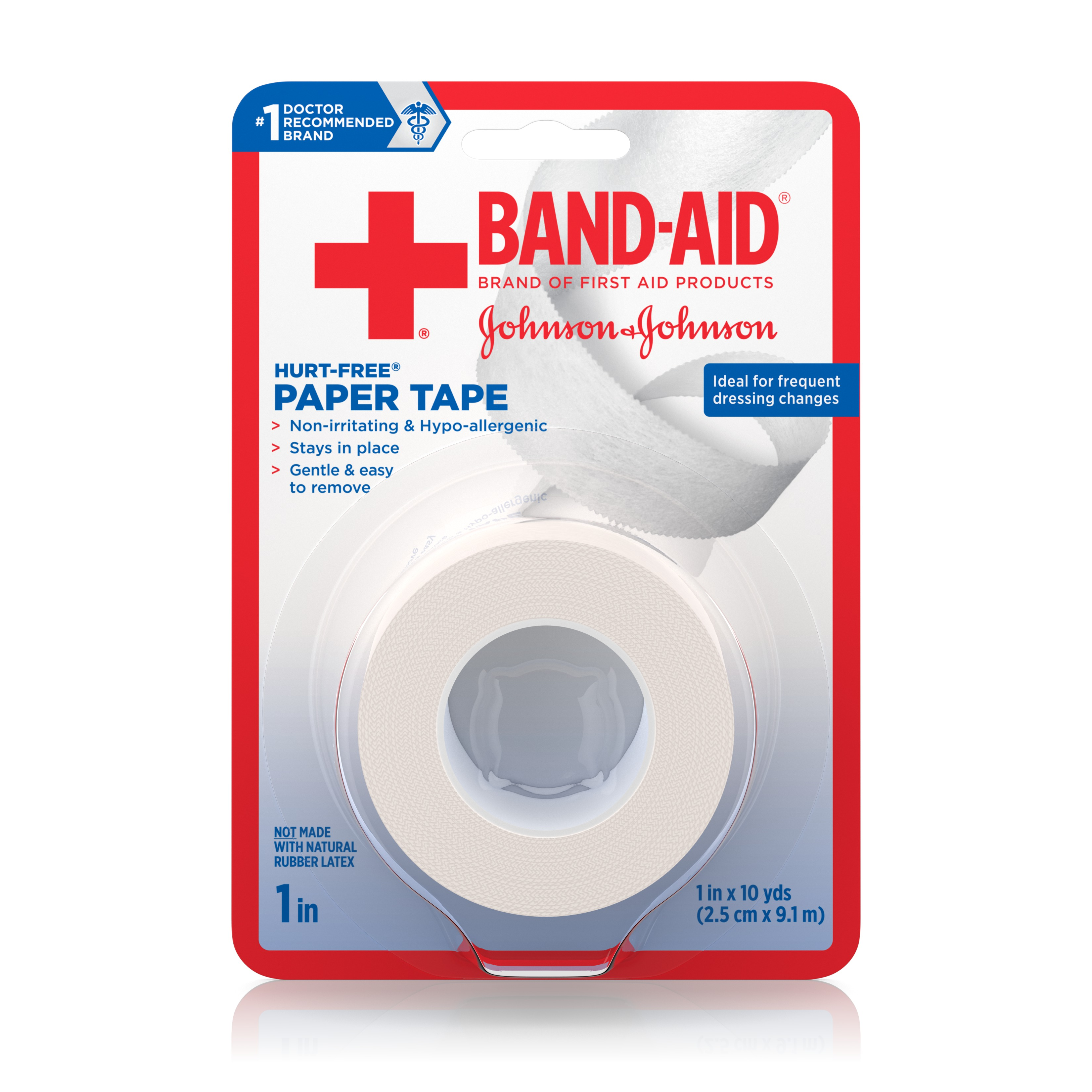 Band-Aid Brand of First Aid Products Hurt-Free Paper Tape to Secure Bandages, 1 Inch by 10 Yards
