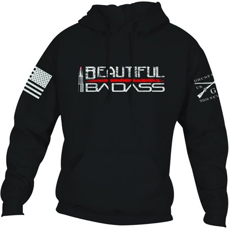 Grunt Style Women's Relaxed Fit Beautiful Badass 2.0 Pullover Hoodie - - Fit Pullover