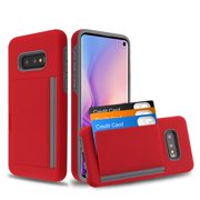 """Samsung Galaxy S10e (5.8"""") Wallet Phone Case Ultra Protective Cover with 3 Cedit Card ID Holder Slot [Slim] Heavy Duty Shockproof Hybrid Hard PC + TPU Armor RED Case for Samsung Galaxy S10E / S10 e"""