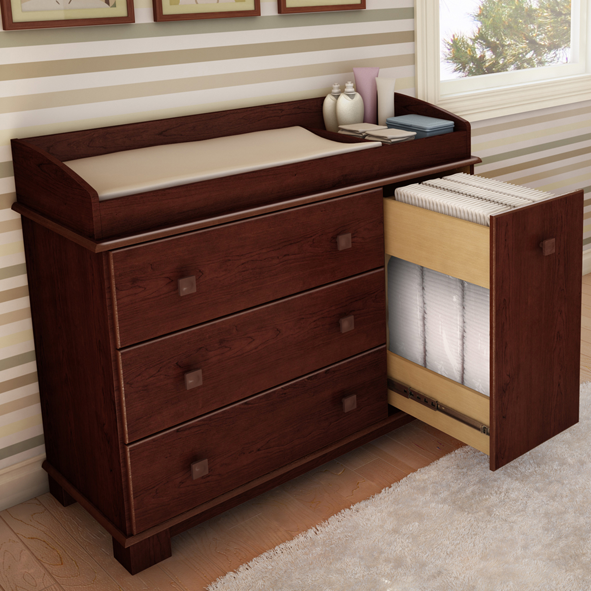 Cherry Changing Table With Drawers Chest Of