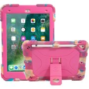 iPad 9.7 Case 2017/2018, iPad 6th/5th Generation Case iPad Air 2 Case for Kids Double-Layer Heavy Duty Cover with Apple Pencil Holder & Kickstand for iPad Pro 9.7 (Camo/Pink)