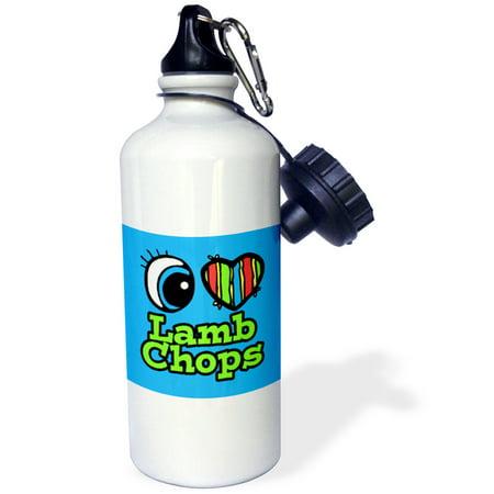 3dRose Bright Eye Heart I Love Lamb Chops, Sports Water Bottle, 21oz