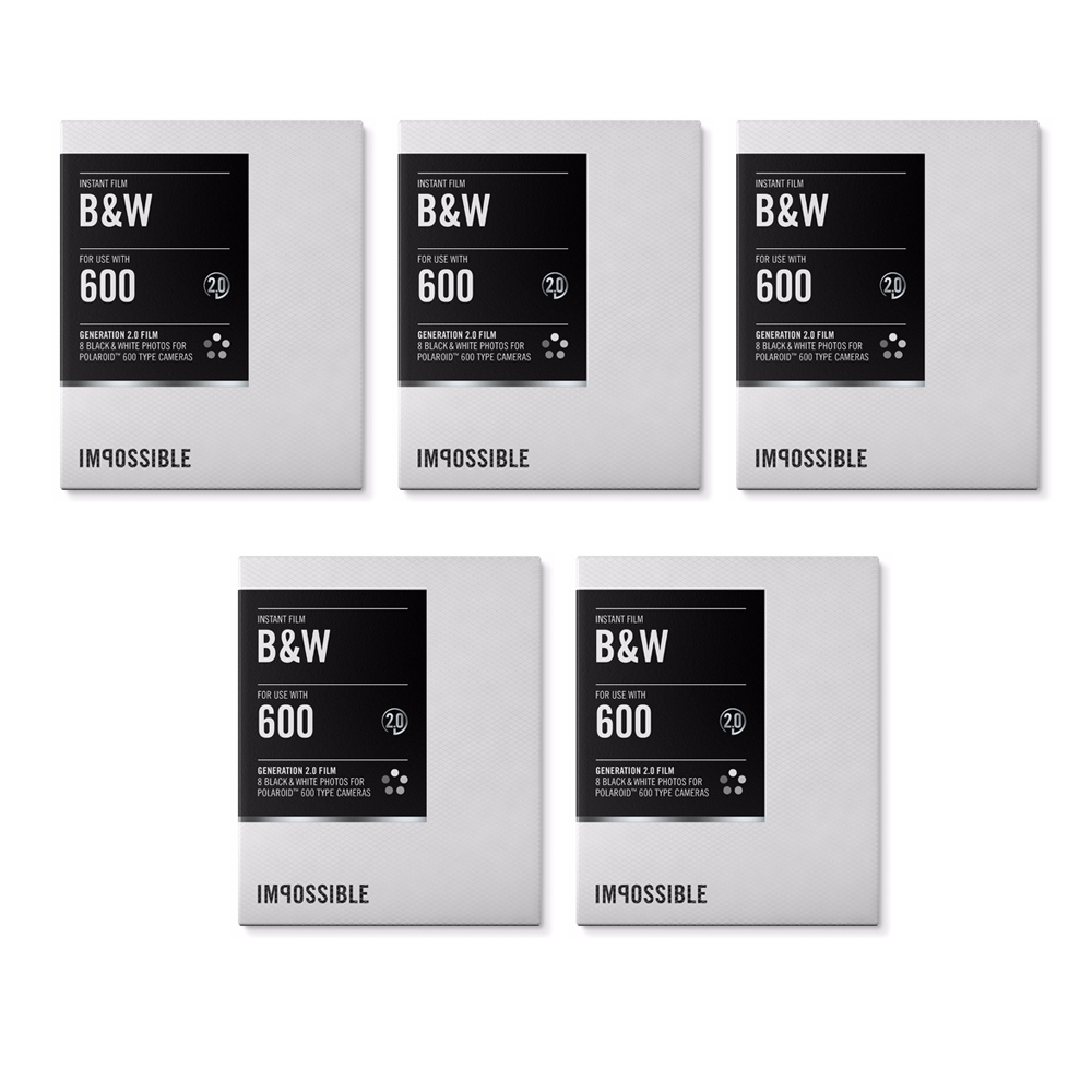 Impossible Instant Black & White 2.0 Film for Polaroid 600-Type Cameras (5-Pack)