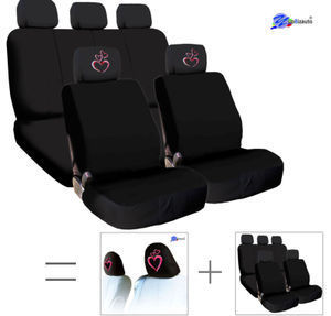 New Bundled Pink Heart Car Headrest Black Fabric Seat Covers Combo Set Universal Fit