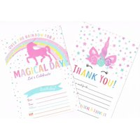 Unicorn Birthday Party Invitations + Thank You Cards set For Girls (25 cards each) with Envelopes (50 Counts)