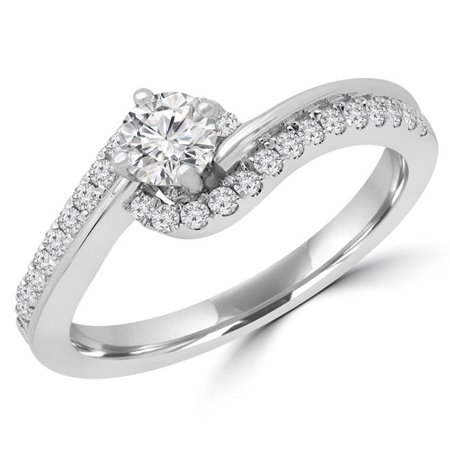 Majesty Diamonds MD190113-7.75 0.5 CTW Round Diamond Bypass Solitaire with Accents Engagement Ring in 14K White Gold - Size 7.75 - image 1 of 1