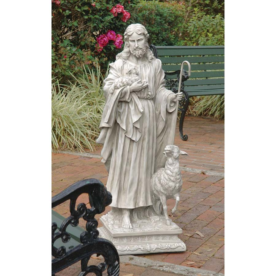 Jesus, The Good Shepherd Garden Statue: Grande by Design Toscano