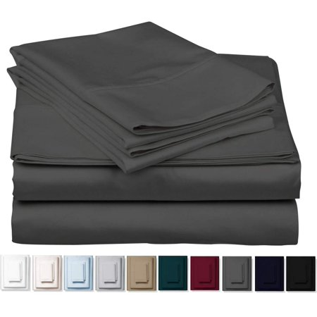 True 1000 Thread Count 100% Pure Egyptian Cotton Bed Sheets, 4-Pc Cal King DARK GREY Sheet Set, Single Ply Long-Staple Combed Cotton Yarns, Best Sateen Weave, Fits Mattress Upto 17'' Deep Pocket