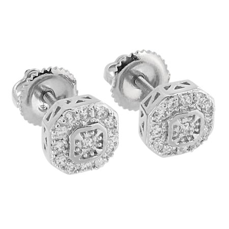 - Screw Back Earrings Studs 14K White Gold Finish Lab Created Cubic Zirconias Mens Iced Out 7mm