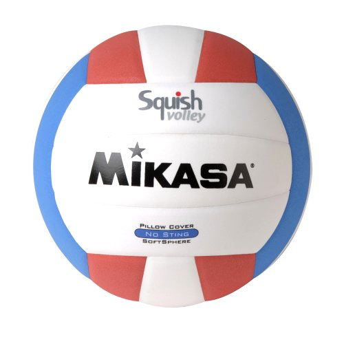 Mikasa Squish No-Sting Pillow Cover Volleyball, Water No Volleyball VSV104 Sting RedCircles 2Pack RedWhiteBlue BallYellowRed Cover Squish NoSting Proof.., By Mikasa Sports