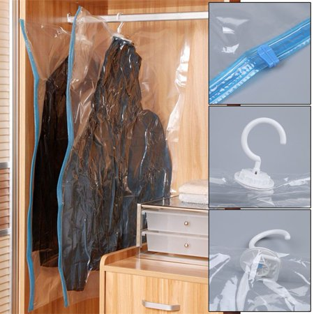 72f478c857ae 4 PCS Vacuum Seal Hanging Bag Clothing Storage Bags Compression Garment Bags  - Walmart.com