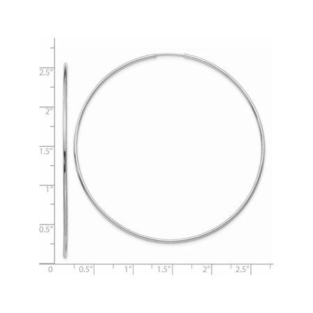 14k White Gold White Polished Endless Tube Hoop (74x74mm) Earrings - image 1 of 3