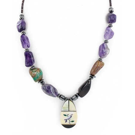 Authentic Navajo Inlay (Certified Authentic Bird Inlay Navajo .925 Sterling Silver Natural Turquoise Amethyst Mother of Pearl Hematite Native American Necklace )