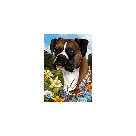 Boxer Fawn Uncropped - Best of Breed Summer Flowers Garden Flags
