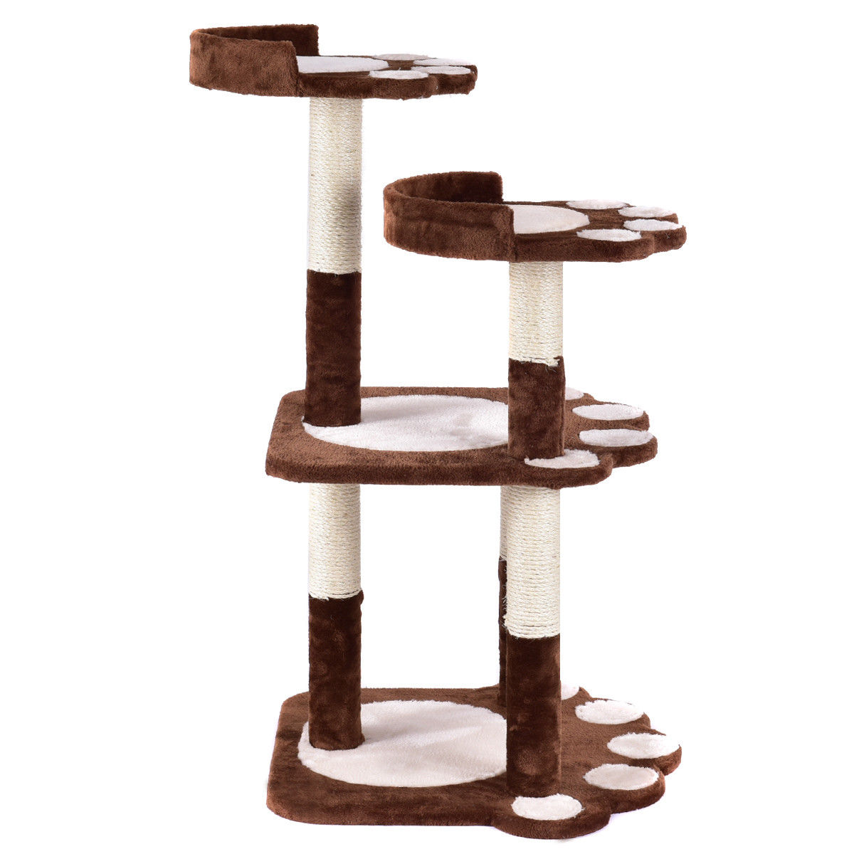 Gymax 42'' Cat Tree Kitten Pet Furniture Multi-level Climb Scratching Posts Paw Brown - image 1 de 10