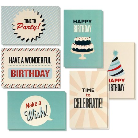 Birthday Cards In Bulk (Birthday Card - 48-Pack Birthday Cards Box Set, Happy Birthday Cards - Retro Birthday Designs Birthday Card Bulk, Envelopes Included, 4 x 6)