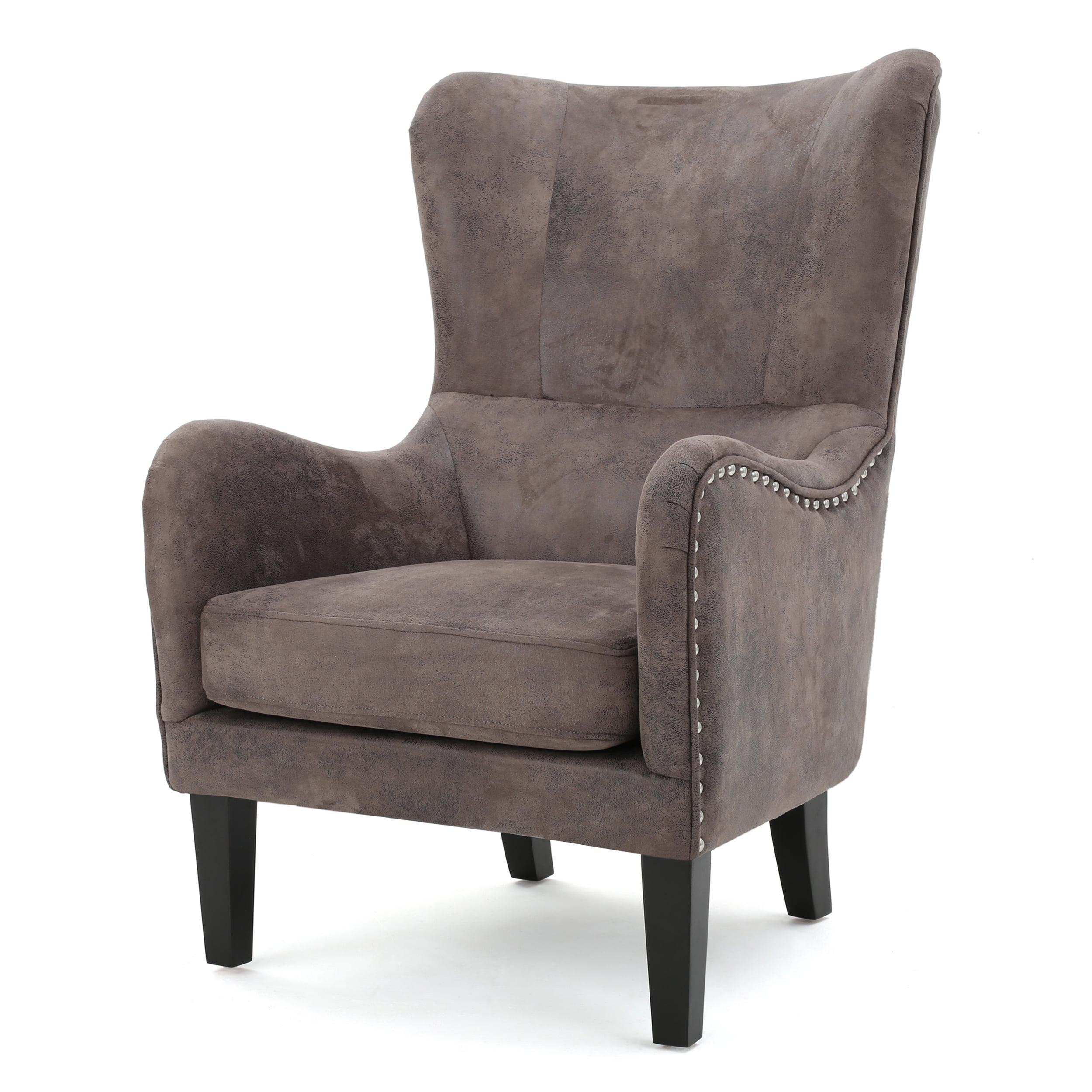 Salerno Fabric Hi-Back Studded Chair, Greyish Brown